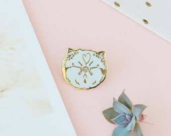 "Cat Enamel Pin ""BLAH"" Gold and Blue - cute sassy kitten kitty lapel cool button backpack jewelry hat pins cat lovers pingame collectibles"