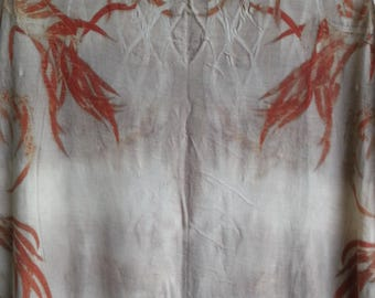Eco fashion mirror image leaf print wool silk jersey dress
