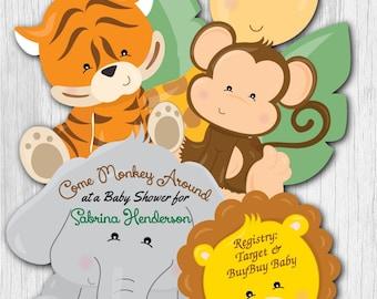 Jungle Baby Shower Invitation Jungle Theme Shower Invitations Giraffe Baby Shower Invitation Safari Baby Shower Invites Jungle Baby Invites