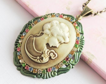 Cameo necklaces, large pendants, victorian style jewelry, gift for her, green jewelry