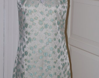 60s Suzy Perette Dress, Silver Blue Brocade, Gold Thread, Cocktail, Party Dress, Size Small
