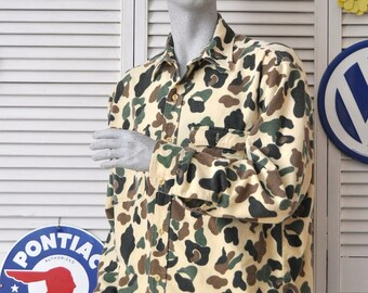 Vintage Mens Desert Camouflage Jacket/Soft Flannel Shirt/Long sleeve top/Prentiss USA Large/Winter Camping Hiking Outdoor sports 2 Pocket
