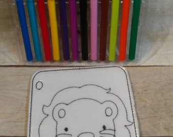 Lion Coloring Page, Coloring Picture, Coloring Page, Felt Coloring Page, Vinyl Coloring Page, kids Coloring Page, Reusable coloring