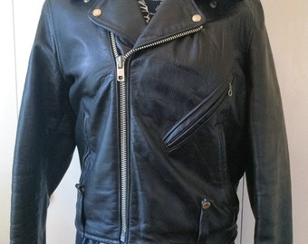 Harley Davidson leather jacket, 70s with shearling collar, women's S, men's XS
