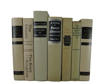 Farmhouse Decor Books, Cream Tan Black Vintage Book Decor , Decorative Books ,  Photo Prop , Bookshelf Decor , Home Decor , Old Book Decor ,