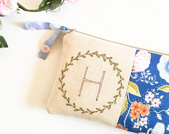 Mothers Day from Daughter, Monogram Clutch, Personalized Mom, Blue Floral, Gift For Her, New Mom Gift, Baby Shower Hostess