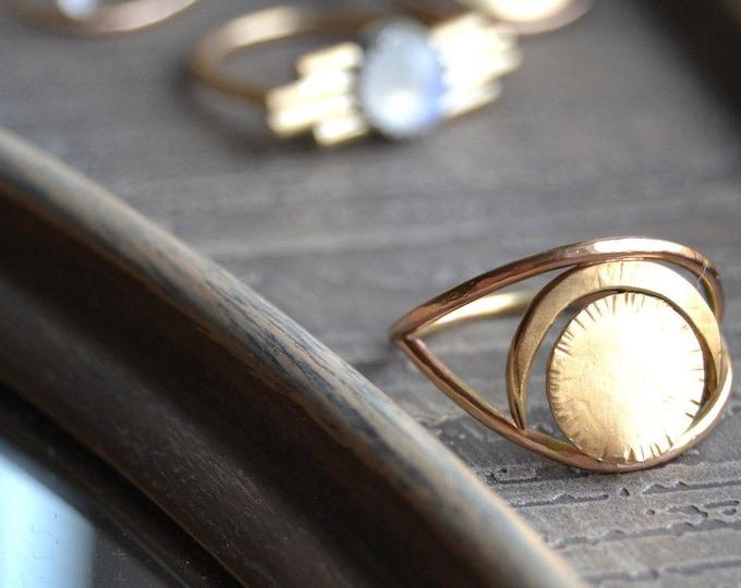Sol (O) Gold Sun Circle // Geometric // Crescent Moon // Eye // Brass Ring