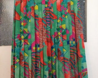 Ladies size 12-14 // silky multi coloured abstract print pleated skirt // vintage retro 80's