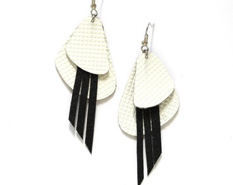 Black and White Statement Grid Leather Earrings with Fringe