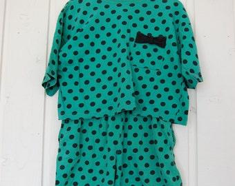 Vintage Green with Black Polka Dot Shirt and Short Set