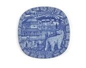 Swedish Christmas Plate - Julen Rörstrand Souvenir Plate, Blue and White Porcelain, Gunner Nylund Designer, c1975