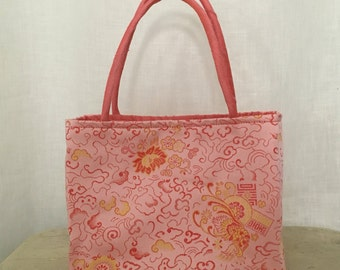 Blush Pink Asian Brocade Mini Handbag