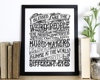 Blessed Are The Weird People, Typography screen print, Chatty Nora, Wall print, Quote print, Blessing, Pink print, vintage style print