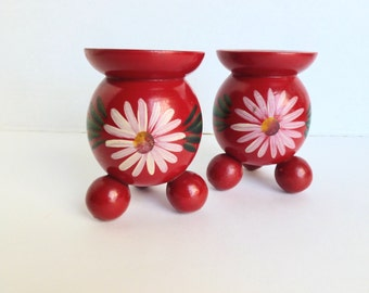 Swedish Wooden Candlestick Holders Red and Green Hand Painted Christmas Decor Folk Art Scandinavian Sweden