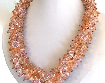 Vintage Peach and Pink Crystal Bead Cluster Torsade Necklace Morganite Pink Sapphire Crystal