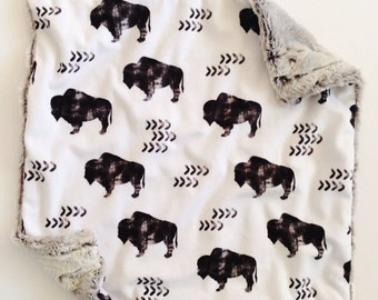Baby Lovey Blanket, Security Blankie, Lovey Blanket, Bison, Buffalo, Aztec, Woodland
