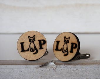 Cat Cufflinks Personalized Cuff Links Initials and Cats Laser Cut Wooden Cufflinks Cat Lover