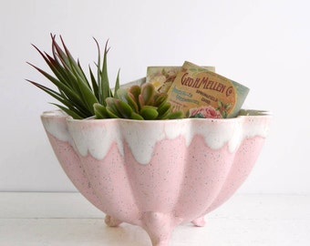 Vintage Ceramic Pink Shell Bowl Planter -  Scalloped Tripod Footed Home Decor Storage Bowl