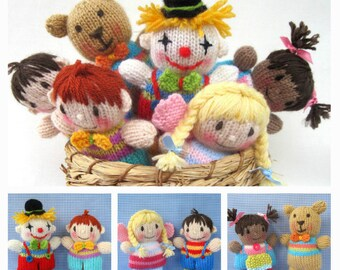 Toyshelf Tots - toy girls, boys, fairy, clown and teddy bear knitting pattern - PDF INSTANT DOWNLOAD