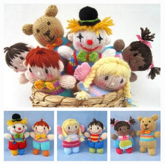 Toyshelf Tots - toy girls, boys, fairy, clown and teddy bear knitting pattern - PDF INSTANT DOWNLOAD