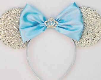 Cinderella Ears Silver Minnie Mouse Ears Headband Crown Tiara Disney Ears Blue Mickey Mouse Ears Princess Women Girls Cinderella Headband