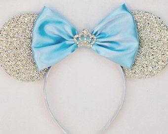 Cinderella Ears Silver Minnie Mouse Ears Headband Crown Tiara Disney Ears Blue Mickey Mouse Ears Princess Women Girls Cinderella Headband