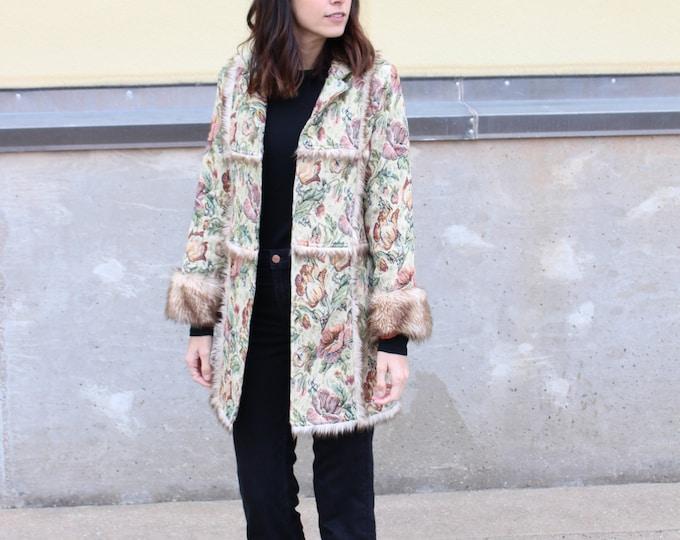 vintage faux fur trimmed floral coat