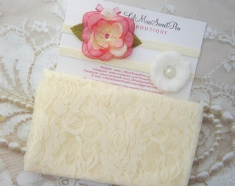Pale Yellow Stretch Lace Swaddle Wrap AND/OR Matching Headband (s) for newborn photos, baby swaddle blanket, lace wrap by Lil Miss Sweet Pea