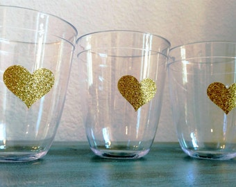 Party Cups, 10 Gold Heart Cups, Birthday Party Supplies, Shower Supplies, Wedding Supplies, Gold Glitter Hearts, SET OF 10 CUPS