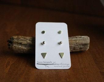 3 Pair Stud Earring Set - Disc Stud Earrings - Meteor Stud Earrings - Triangle Stud Earrings - Three Pair Earring Set - Post Earrings Set