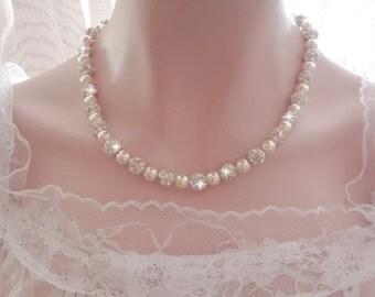 Pearl necklace ~ Brides pearl necklace, Swarovski pearl necklace, Brides necklace, Wedding necklace, Sparkling Elegance, Gift,