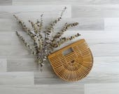Vintage Asian Bamboo Slat Wooden Clutch Purse Bag