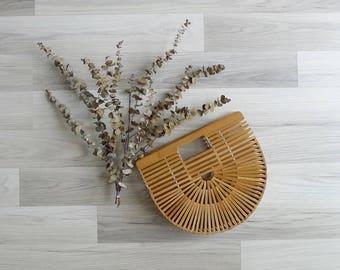 15% SALE (Code In Shop) - Vintage Asian Bamboo Slat Wooden Clutch Purse Bag