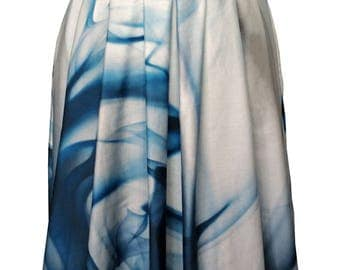 Pleated Cotton Skirt, Blue and White Skirt, Aqua Print, High Waist, 50s Skirt, 50s Fashion, Designers Skirt