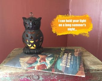Vintage Cast- Iron Owl Candle Holder