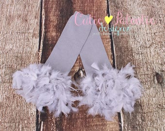 READY TO SHIP: Leg Warmers - Gray Feather - Parrot Bird Costume Accessory - Cloud Climber - One Size - Cutie Patootie Designz