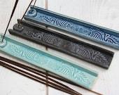 incense burner, made to order, incense tray, stick incense holder, blue batik paisley, yoga gift, meditation, boho decor, aromatherapy gifts