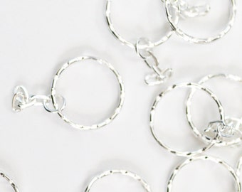 10 Key Rings with Chain - Silver Plated Textured Key Chains - 25mm - Ships IMMEDIATELY from California - A518