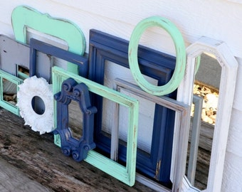 SALE Set of 11 Upcycled Frames and Mirrors - Navy Blue, White, Mint, and Grey - Wall Gallery - Nursery -Wedding - Vintage Frames - Frame Set