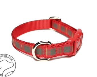"NEW - Cameron Clan Tartan Dog Collar - 3/4"" (19mm) Wide - Bright Red Plaid - Martingale or Side Release - Choice of collar style and size"