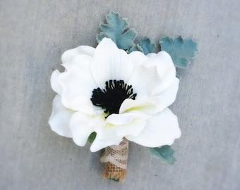 Silk Flower Boutonniere - Custom Floral Buttonhole - Anemone Boutonniere - Rose Boutonniere