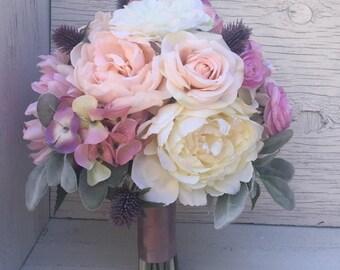 Pink Garden Rose And Hydrangea Bouquet silk flower bouquet | etsy