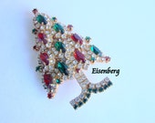 Reserved for Brentda Vintage Eisenberg Ice Rhinestone Christmas Tree Brooch Designer Signed Green Red Clear Rhinestone Jewelry Jewellery