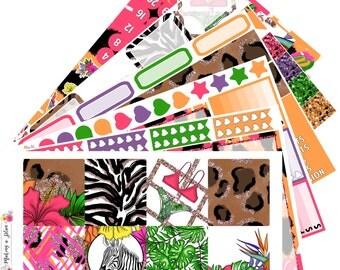 Pretty Wild Horizontal Journal Kit Planner Stickers for use with ERIN CONDREN LIFEPLANNER