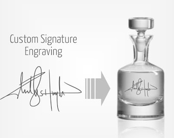 Engraved Whiskey Decanter w/ Custom Signature - Personalized Groomsmen Gift