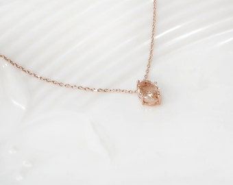 Bridesmaid Gift, Champagne necklace, rose gold necklace, long necklace,  peach necklace