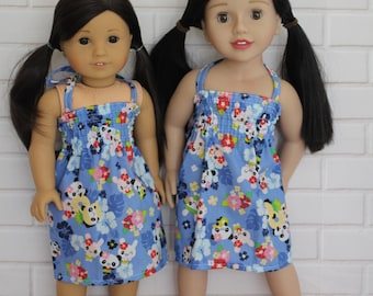 Blue Stretchy Bodice Summer Halter Dress Doll Clothes to fit 18 inch dolls to 20 inch dolls such as American Girl & Australian Girl dolls