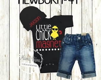 Baby Boy Easter Outfit Clothing, Hip Baby Clothes, Funny Toddler Baby Shirt, Little Man, Chick Magnet, Personalized Hat-BODYSUIT OR T-Shirt