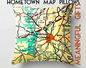 Valentines Day Gift, Personalized Map Pillow Cover 18x18, Husband Gift, Husband Valentines Gift Personalized Gift Hometown Gift Hometown Map