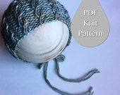 PDF Knit Pattern #0020  The Cameron Knit Bonnet, Newborn, Knit PDF Pattern, Tutorial, Knit Pattern, Beginner, Easy,Instruction,Newborn